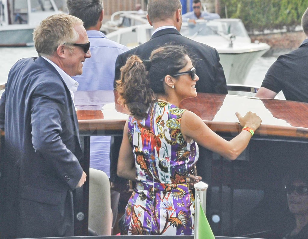 Salma Hayek and Francois-Henri Pinault board a boat in Venice.