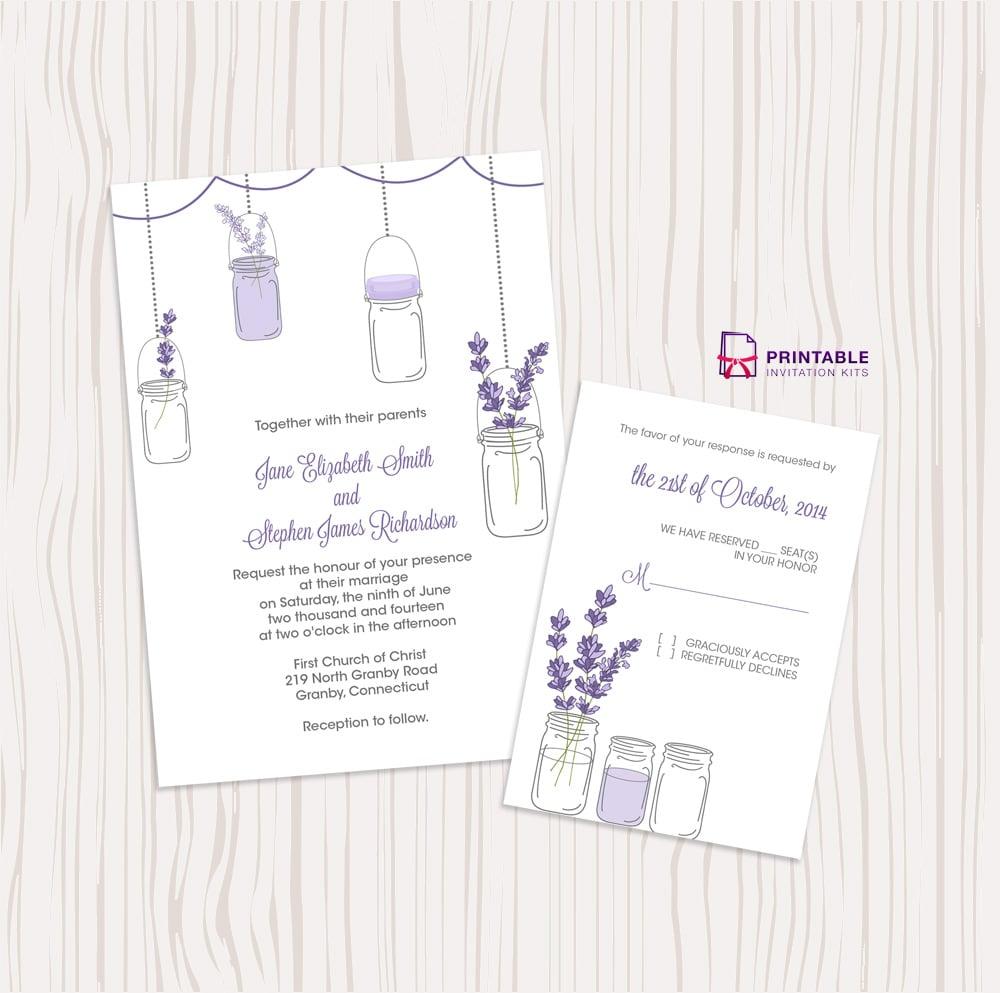 Lavender and Mason Jar Wedding Invitation