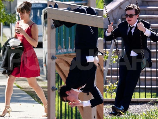 Pictures of the Glee Cast Matthew Morrison, Chris Colfer, Lea Michele, Cory Monteith on Set