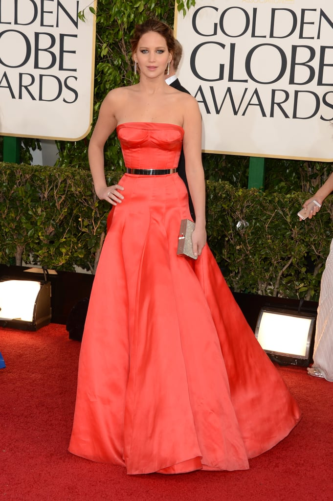 There's only one word for this Dior Couture gown — showstopping. The bright hue is hovering on the line between coral and red and the fit is near perfect, so it shows off her shoulders and waist beautifully. Perfect attire for a Golden Globe winner!