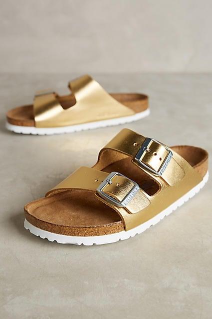 Birkenstock Arizona Slides Gold 38 Euro Sandals ($135)