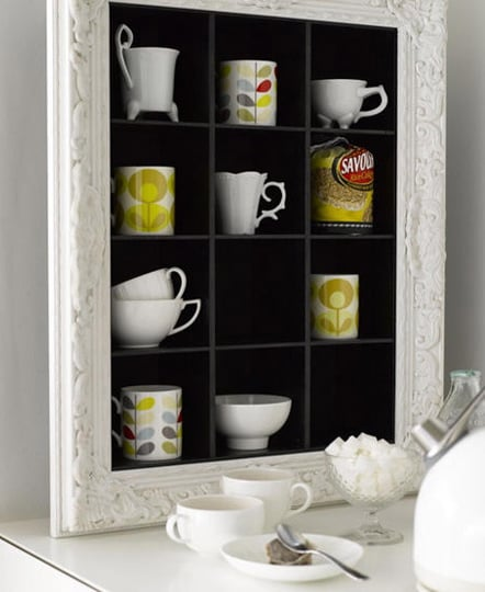 Re-Use Old CD Shelves as Kitchen Shelving for Mugs and Glasses