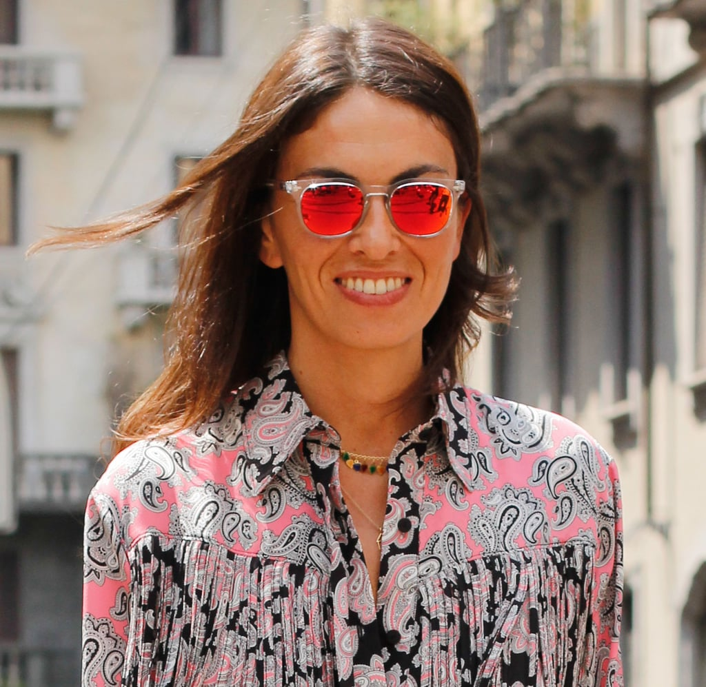 These rose-tinted perspex lenses would perk up any ensemble, though we love the way they look against her paisley.