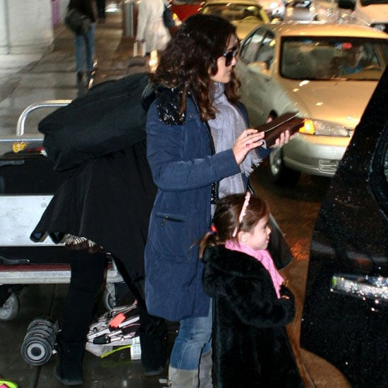 Pictures of Salma Hayek and Valentina at Airport in Boston