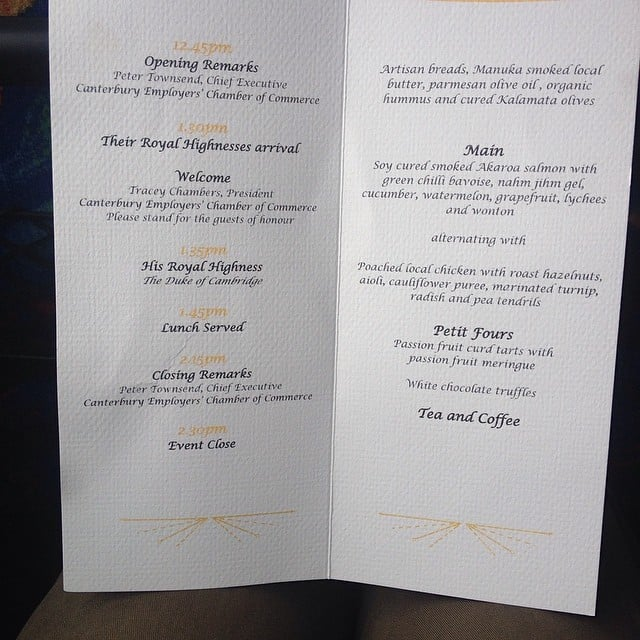 A reporter shared a glimpse at a menu for one of the couple's engagements in New Zealand. Source: Instagram user sperrypeoplemag