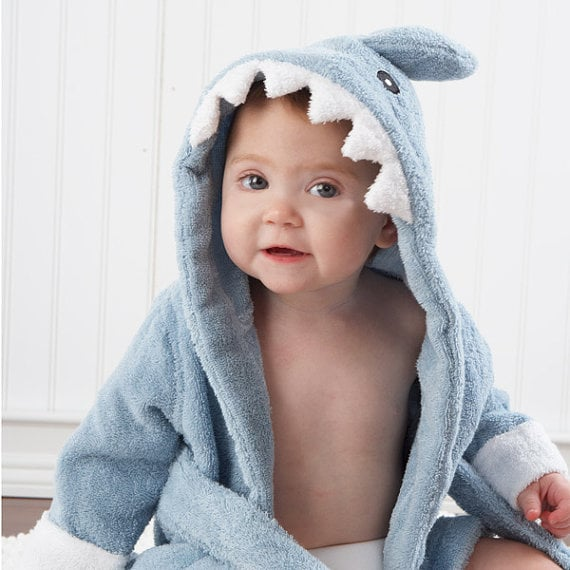 """This sweet """"Let The Fin Begin"""" hooded towel ($35) makes bath time a blast!"""