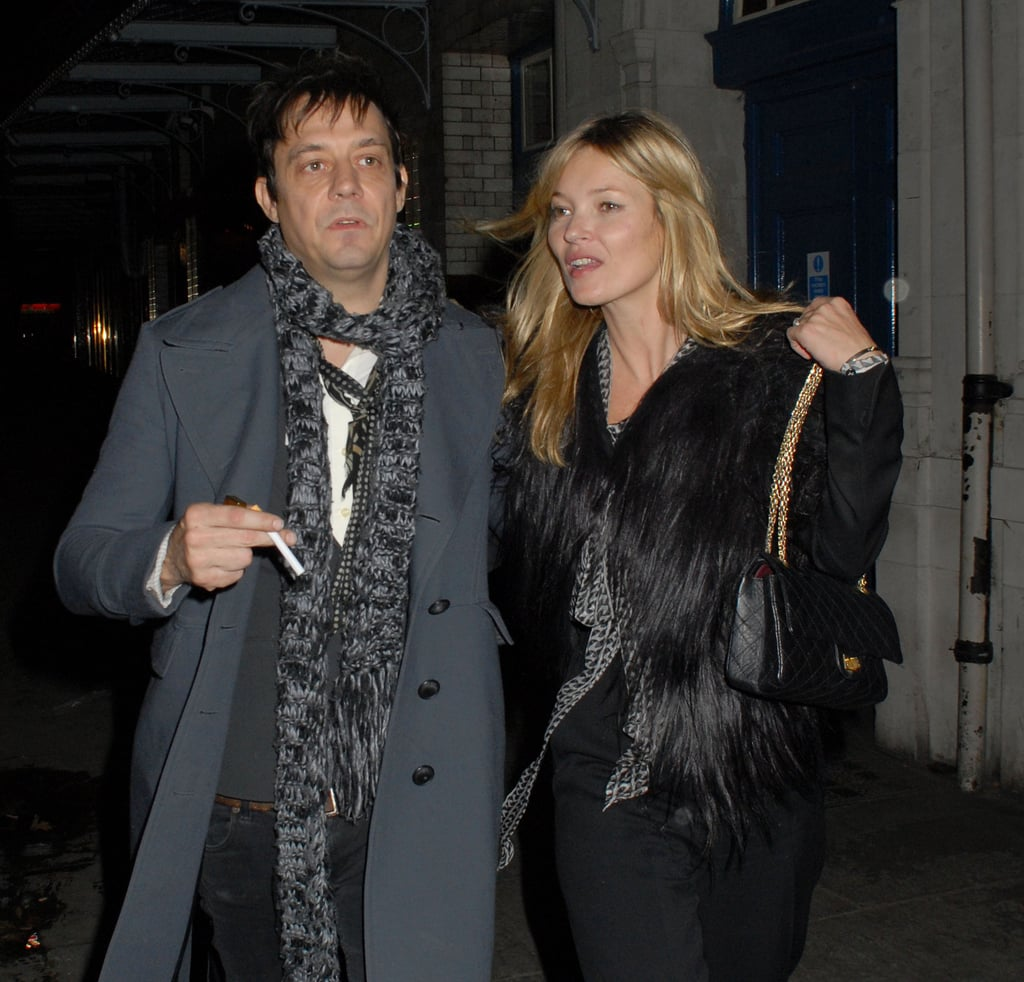 Kate Moss bundled up in black for a date with Jamie Hince.