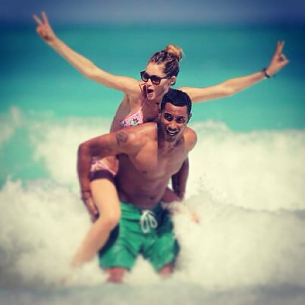 Doutzen Kroes got wacky in the waves with her husband, Sunnery James. Source: Instagram user doutzenkroes1