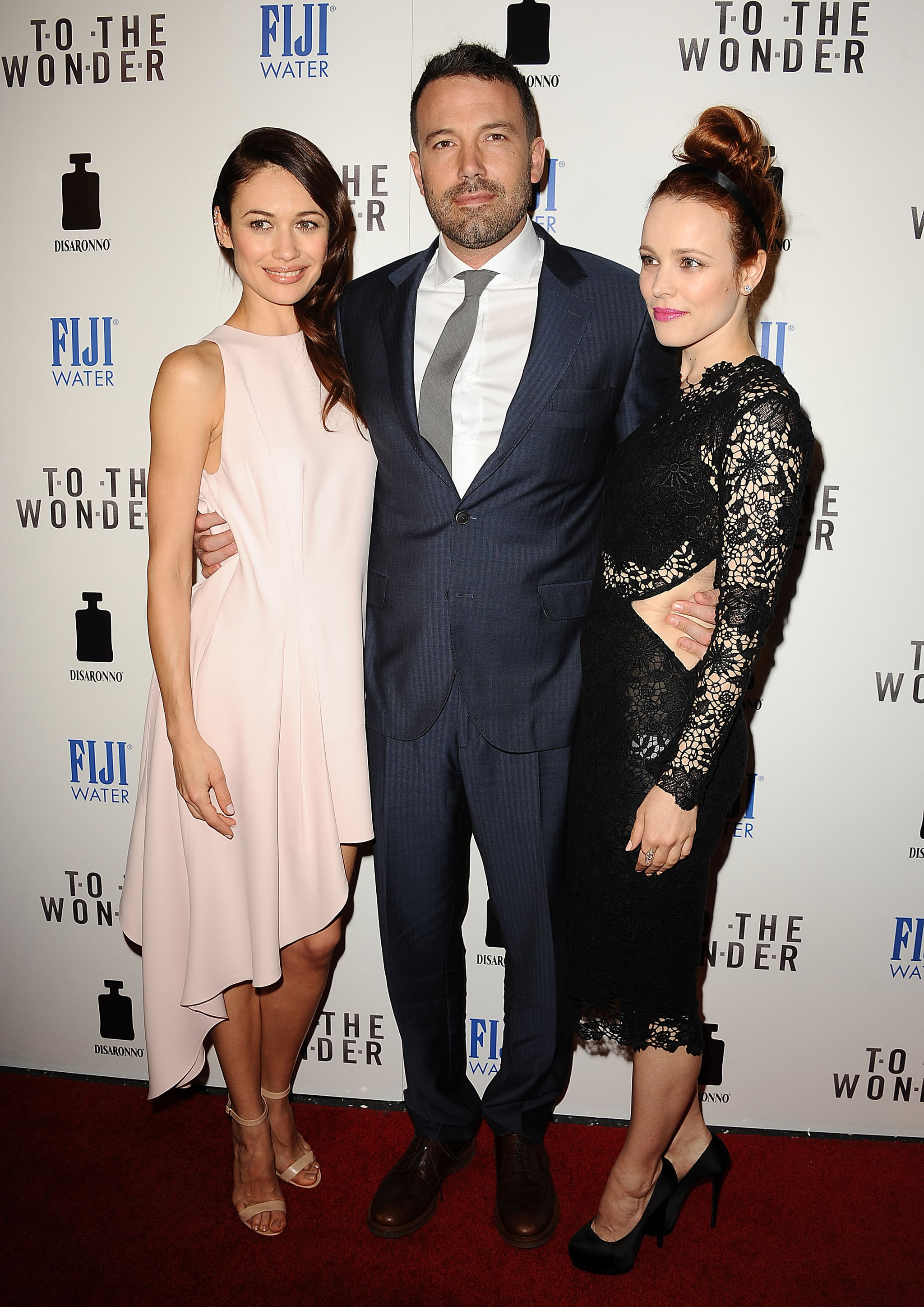 Rachel McAdams, Ben Affleck, and Olga Kurylenko posed together at the event, sponsored by DISARONNO and FIJI Water.