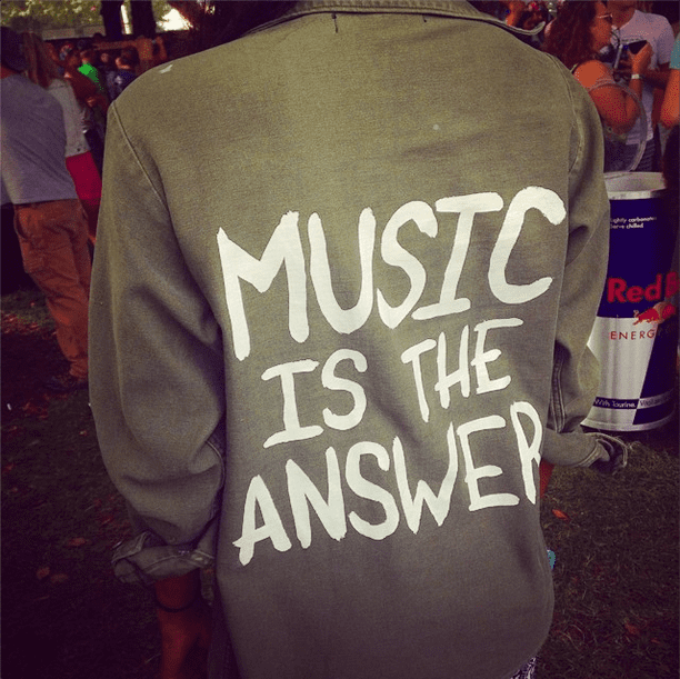 Music was most definitely the answer for the festivalgoer who wore this hand-painted jacket.  Source: Instagram user POPSUGARFashion