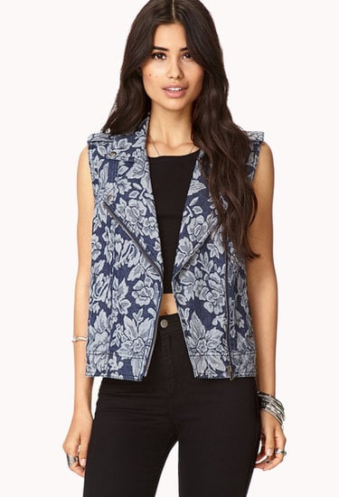 With this Forever 21 botanical-print denim vest ($28) you need little else to outfit a standout look.