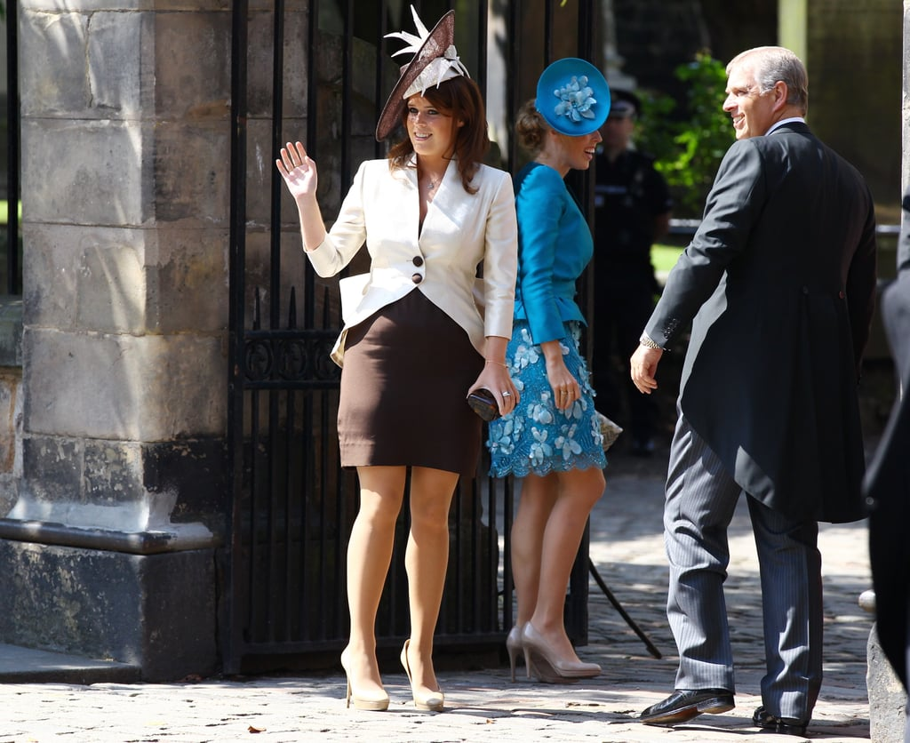 Princess Beatrice, Princess Eugenie, and Prince Andrew dress up for Zara Phillips and Mike Tindall's wedding.