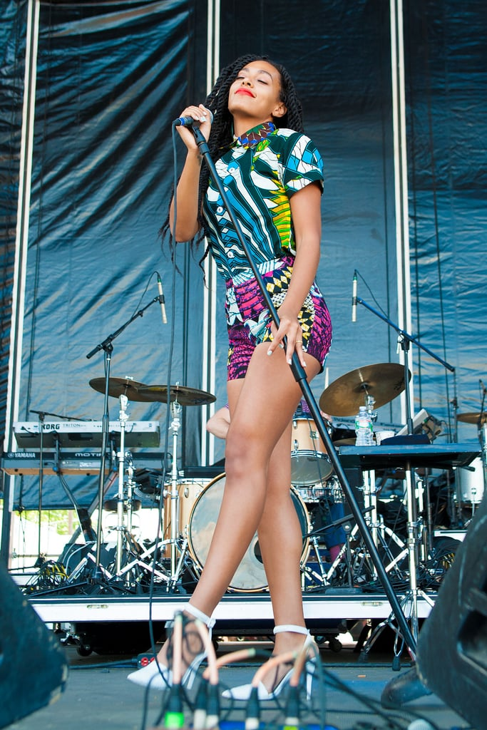 Solange hit the stage in two high-wattage printed pieces by Boxing Kitten and sexy white pumps for The Roots' sixth annual picnic in Philadelphia, PA.