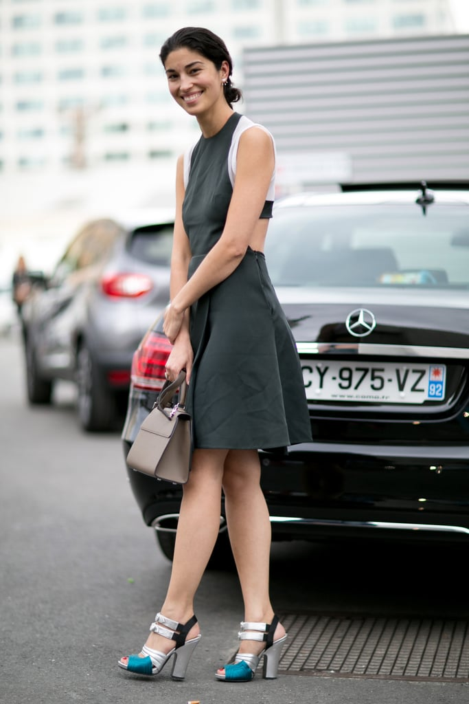 Caroline Issa showed just a hint of skin in her cutout dress.