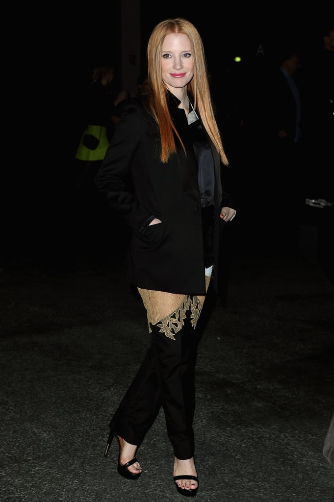 Jessica Chastain posed outside the Givenchy show.