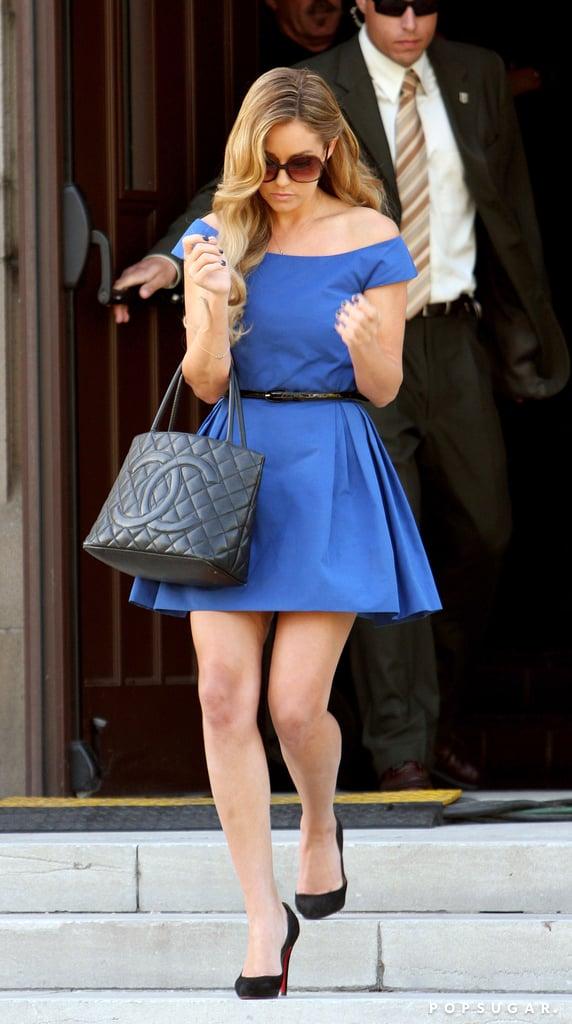 Lauren Conrad made a quick getaway after Heidi Montag and Spencer Pratt's televised LA wedding in April 2007.