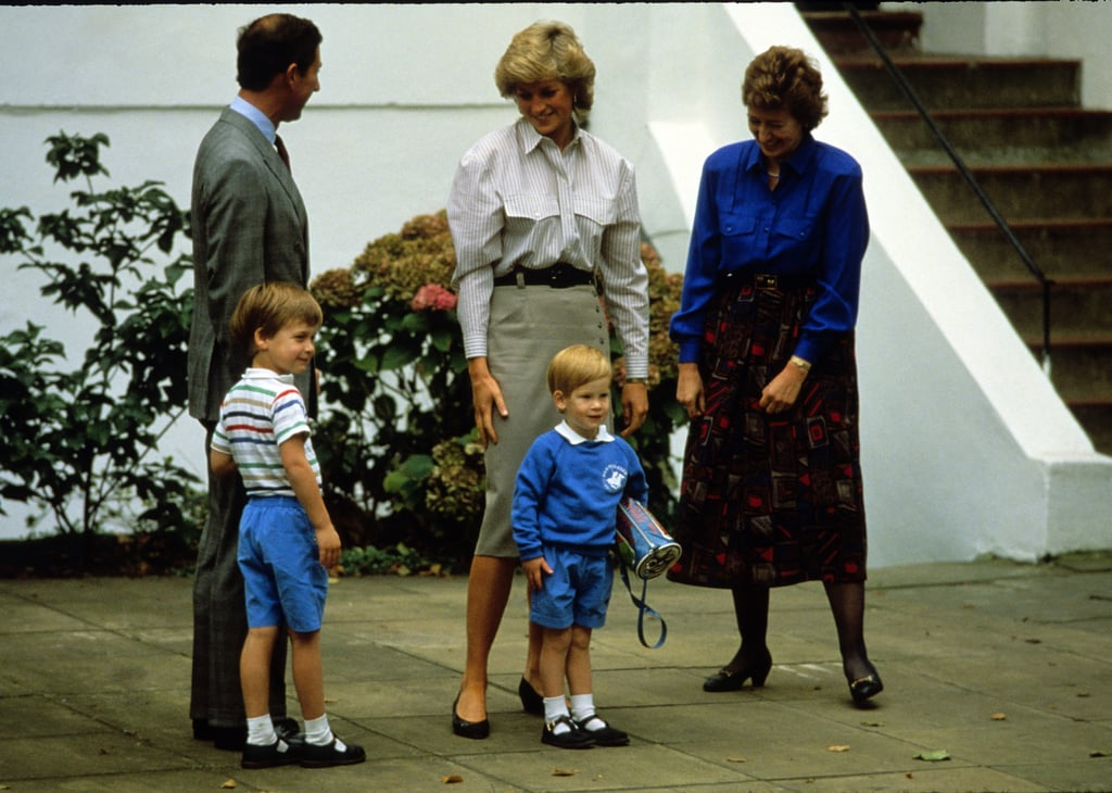 In September 1987, Princess Diana dropped off Prince Harry for his first day of nursery school in London with Prince Charles and Prince William.