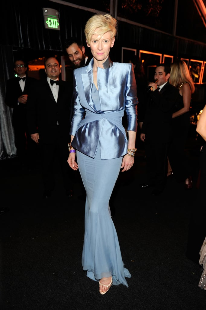 Tilda Swinton hit the party circuit with the the Weinstein Company's Golden Globes after party.