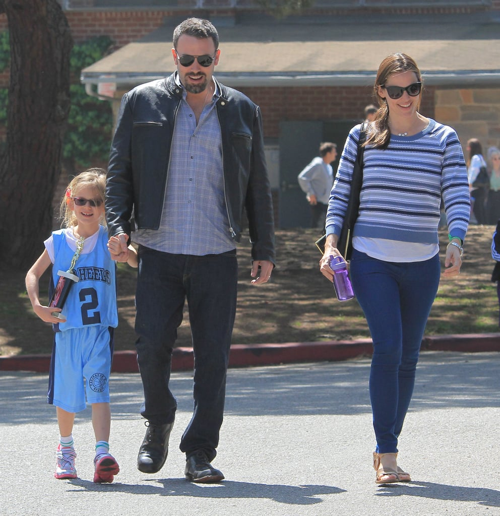 Jennifer Garner and Ben Affleck took the family to Brentwood famers market in March 2013 while a proud Violet held a trophy.