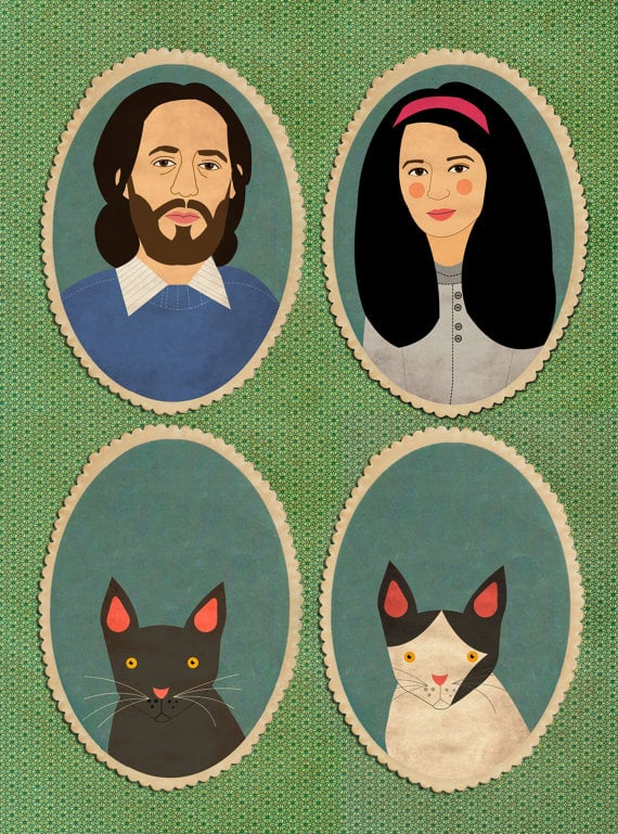 This bespoke portrait ($106) is perfect for a family of four.
