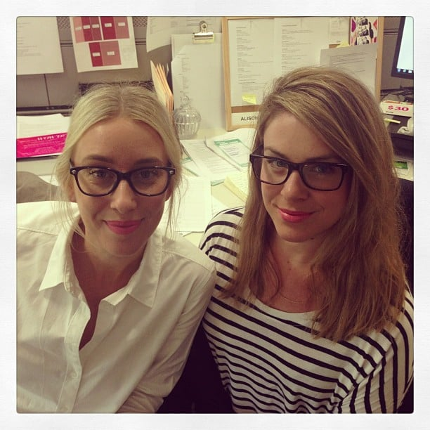 Health and beauty girls Alison and Steph were matching in their pink lippie and glasses. Cute!