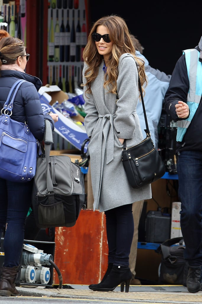 Kate Beckinsale looked chic while filming Absolutely Anything in London on Monday.