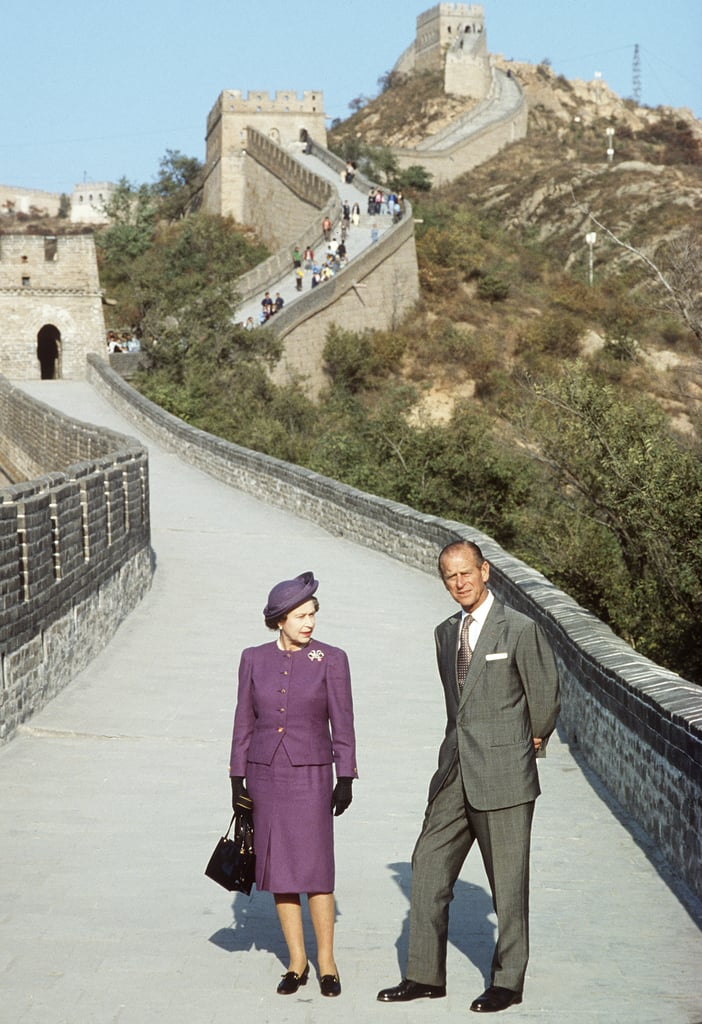 The royal couple stood on the Great Wall of China during a visit in October 1986.