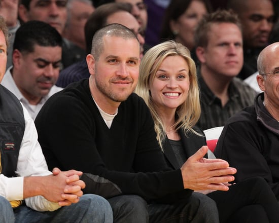 Pictures of Reese Witherspoon's 4 Carat Ashoka Cut Diamond Engagement Ring Reese Witherspoon and Jim Toth at Lakers Game