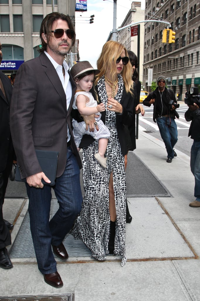 Rodger Berman led Rachel Zoe and Skyler out of the Trump SoHo hotel in NYC.