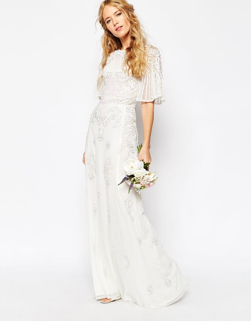 Asos bridal iridescent flutter sleeve maxi dress 254 for Flutter sleeve wedding dress