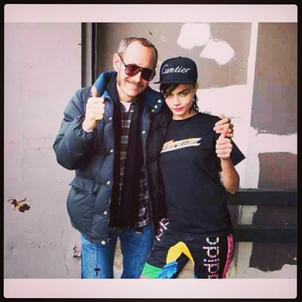 Cara Delevingne struck Terry Richardson's well-known pose with the fashion photographer. Source: Instagram user caradelevingne