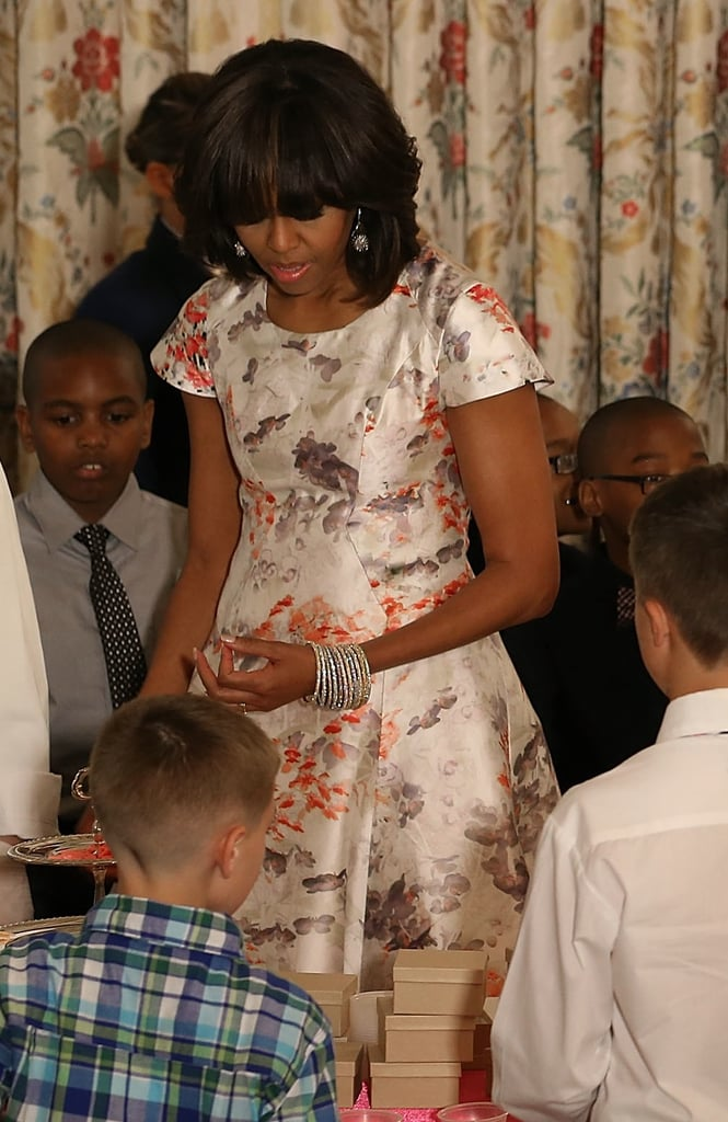 A better look at Michelle Obama's ultrapretty Prabal Gurung Resort '13 dress, complete with a stack of bangles and drop earrings.