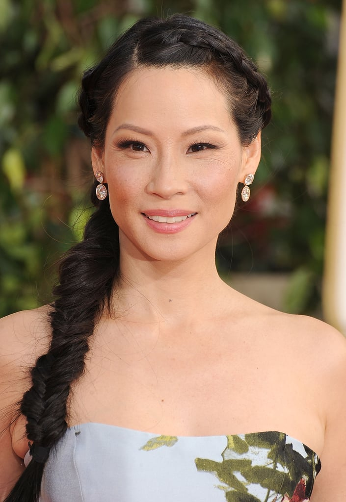 Layer your braids like Lucy Liu did at the Golden Globe Awards by connecting a small, scalp-grazing braid to your long fishtail.