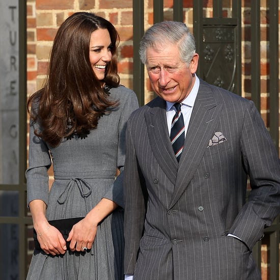 Kate Middleton in a Gray Dress With Prince Charles Pictures