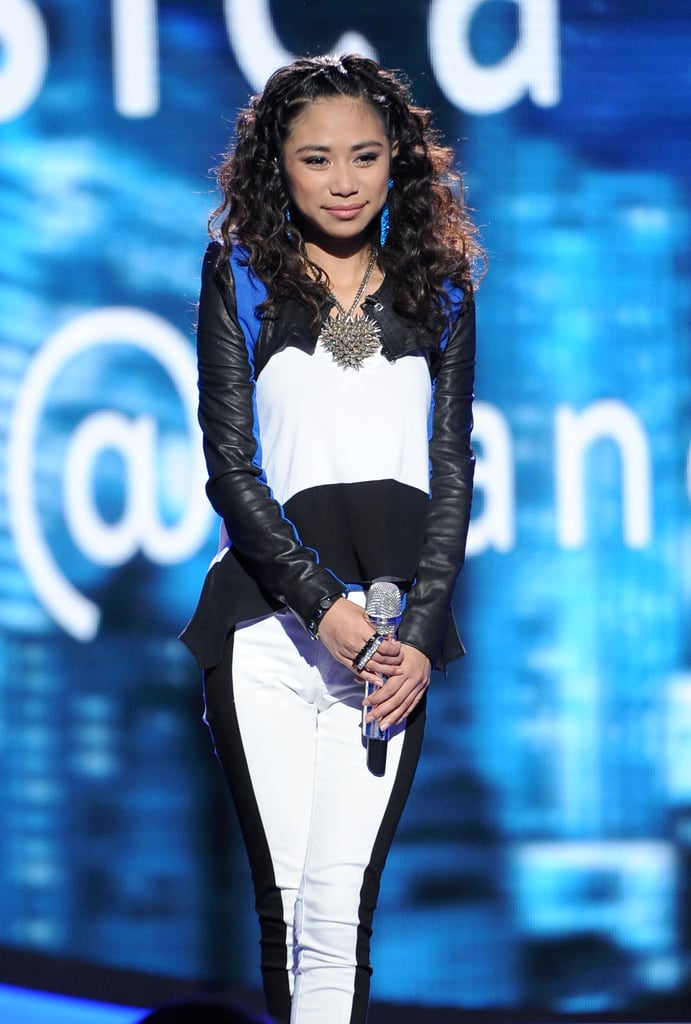 Jessica Sanchez wore a black and white ensemble for the live performance.