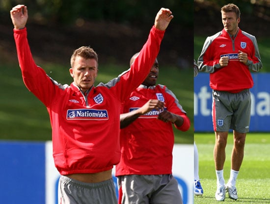 Photos of David Beckham Practicing With The English Team Outside London