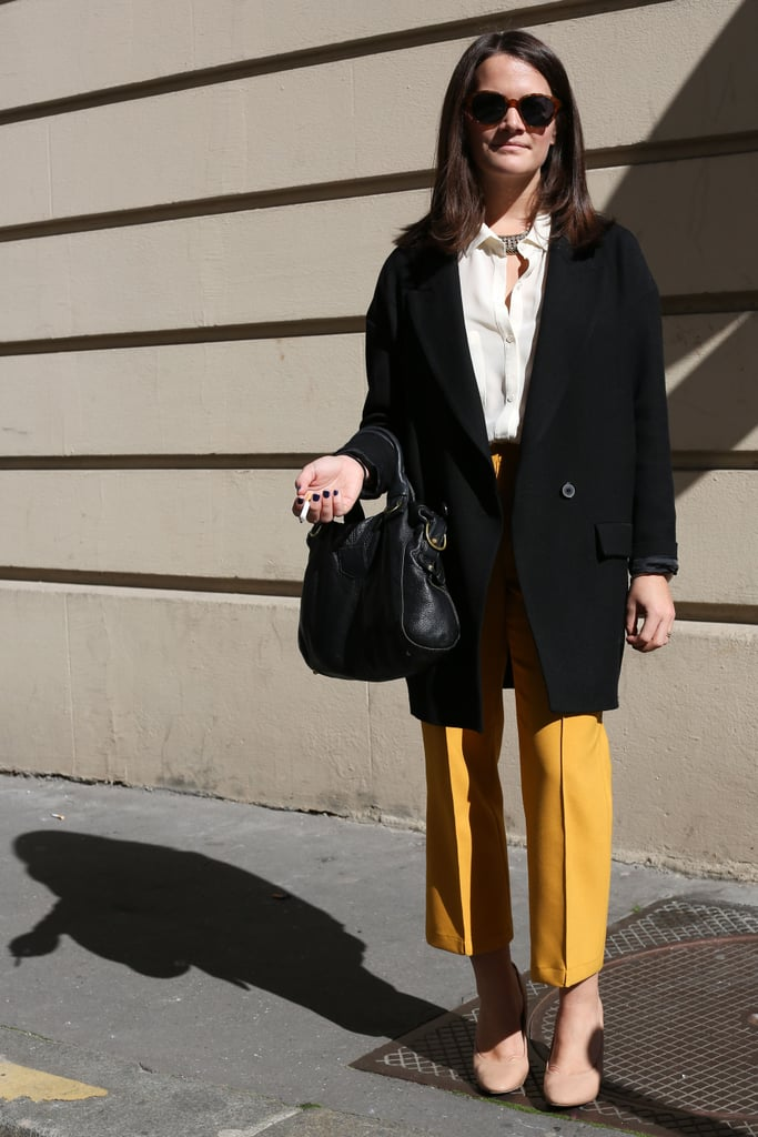 Mustard-yellow pants punch up this menswear-inspired style.