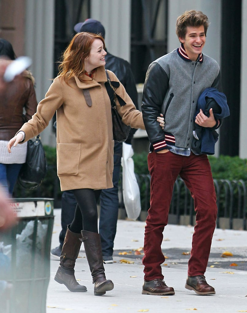 Emma Stone smiled at Andrew Garfield.