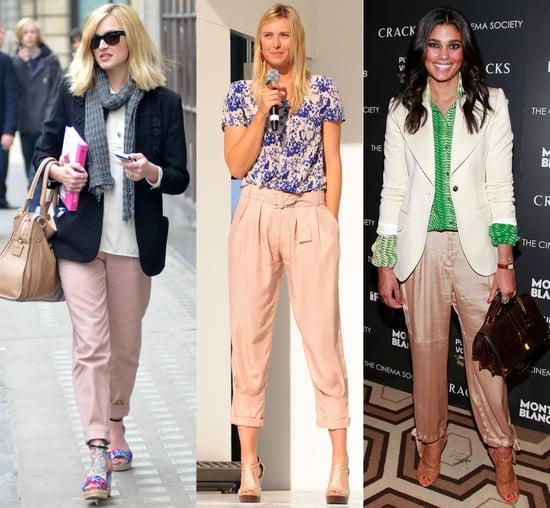 Celebrities Wearing Blush-Hued Pants