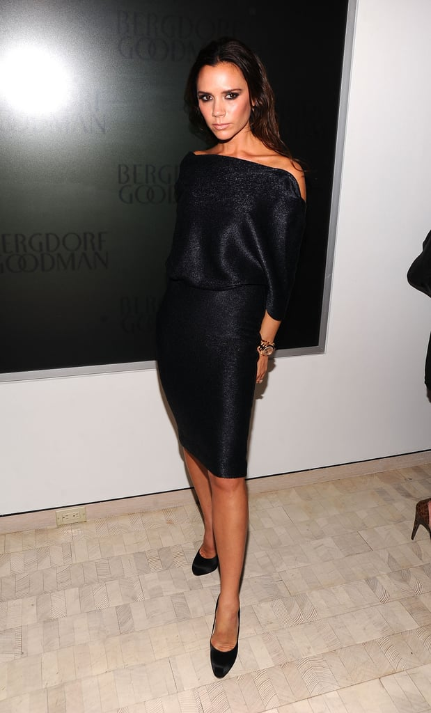 Victoria Beckham struck her signature pose during a Bergdorf Goodman event in 2010.