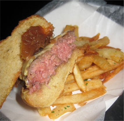 The next burger taught me a thing about New York burgers: The majority are pretty raw!  However, the melted cheese and crisp bread was mighty tasty.