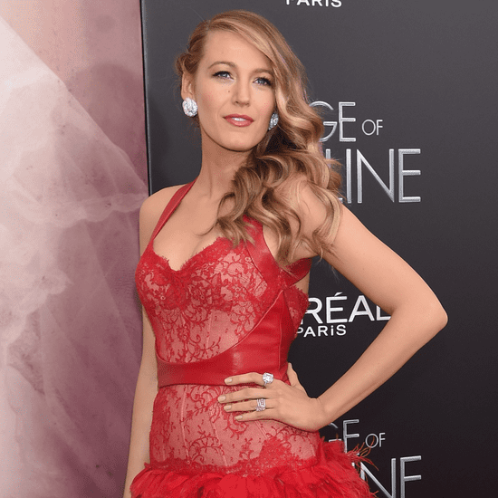 Blake Lively Wearing Monique Lhuillier Red Dress