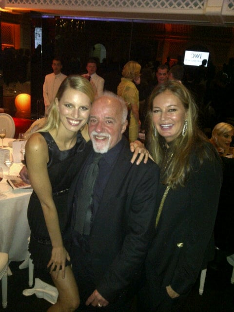Karolina Kurkova shared a photo of herself with Paulo Coelho and Eva Cavalli in Cannes.  Source: Twitter user karolinakurkova