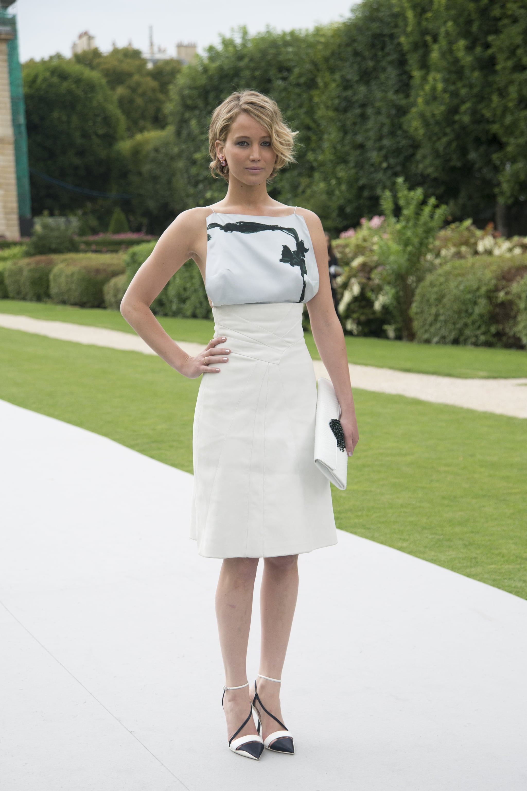 Of course, Jennifer wore Christian Dior to the designer's haute couture runway show during Paris Fashion Week, playing up the black-and-white appeal with strappy, pointed-toe heels.