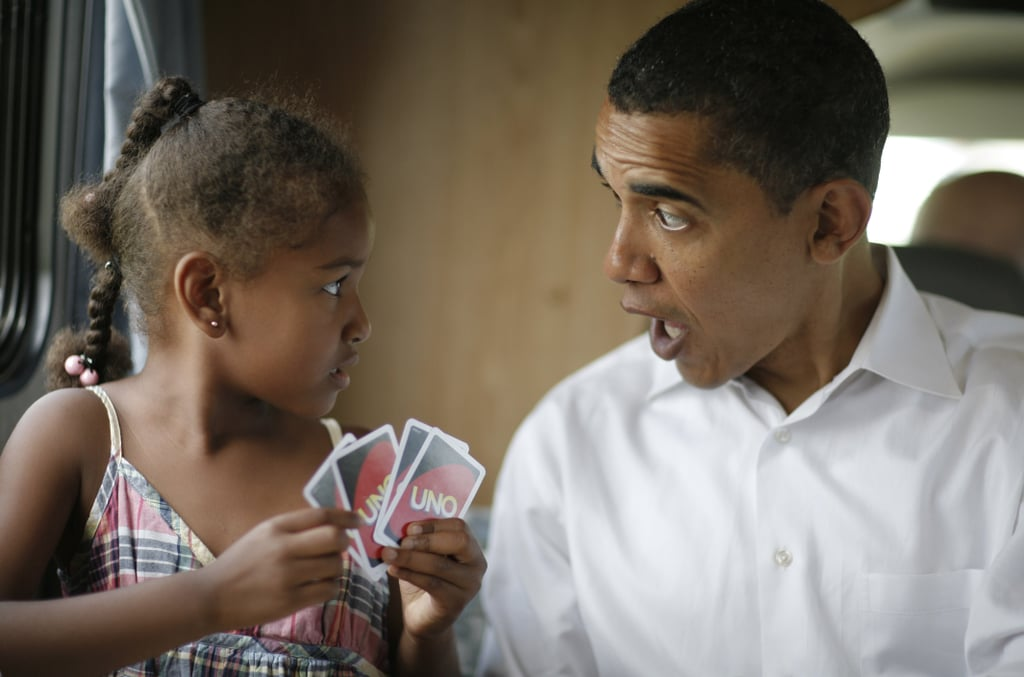 Sasha and her dad, then just a presidential candidate, played cards on the campaign trail in 2007.