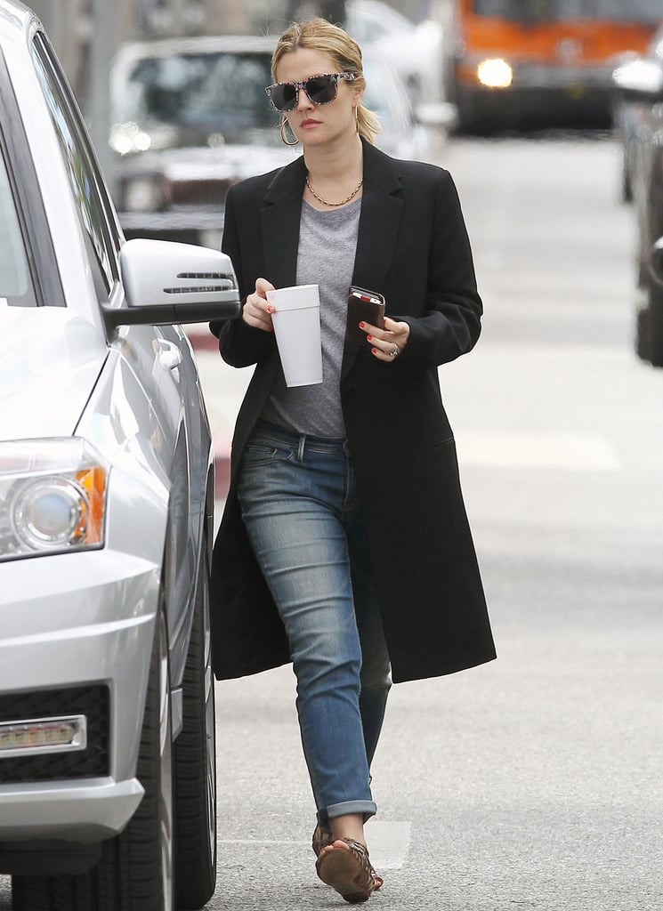 Drew Barrymore, who is reportedly pregnant, left her office in LA.