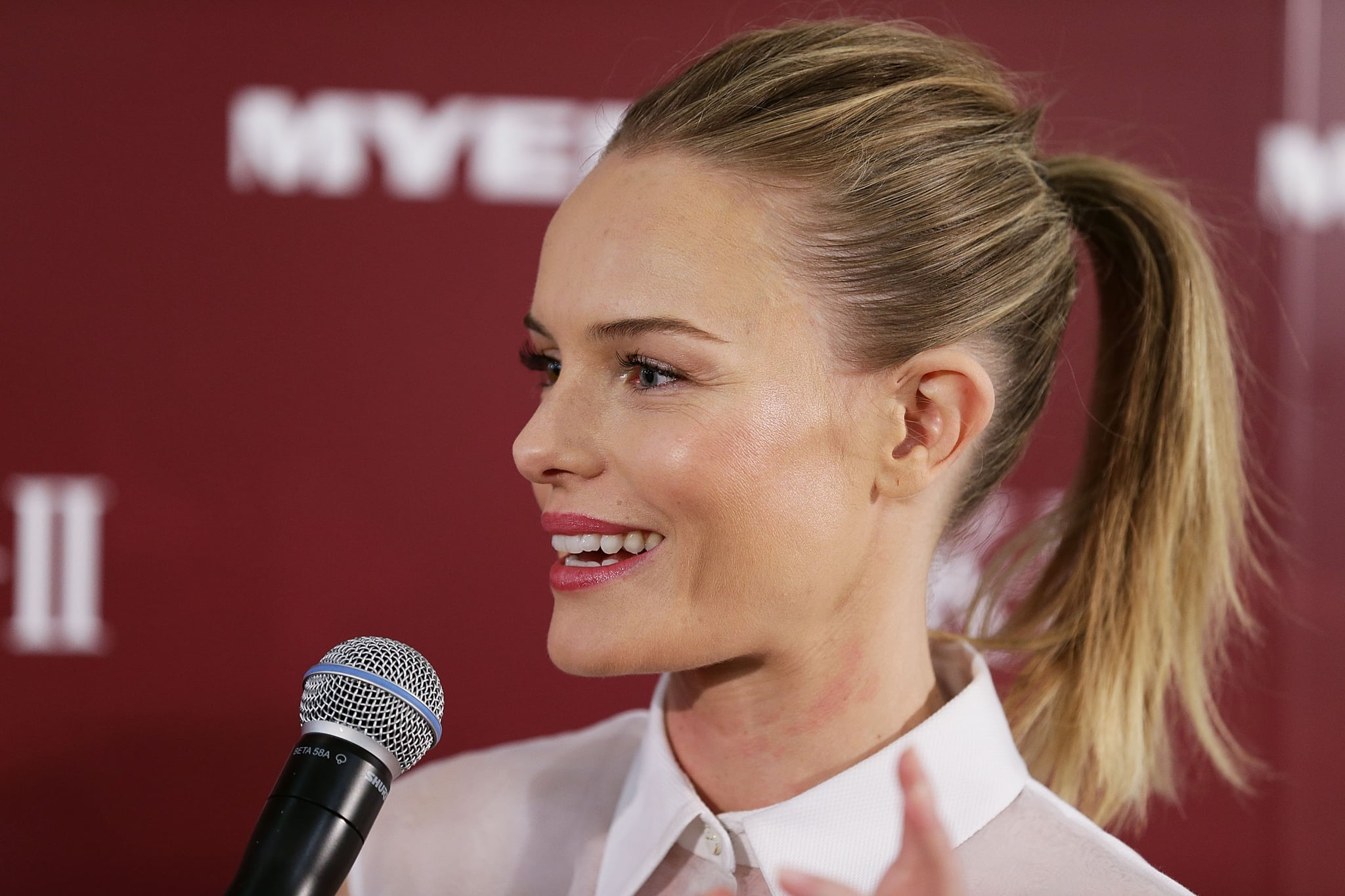 Kate Bosworth took the mic at a promotional event for her skin care line in Sydney.