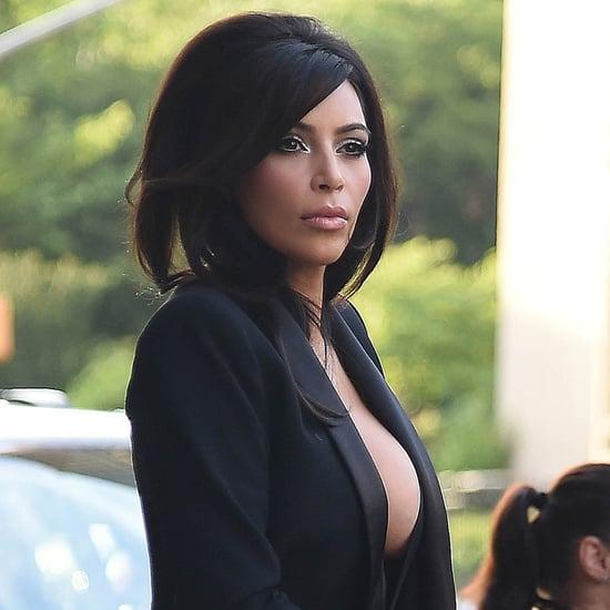 Kim Kardashian's Cleavage in a Revealing Black Suit