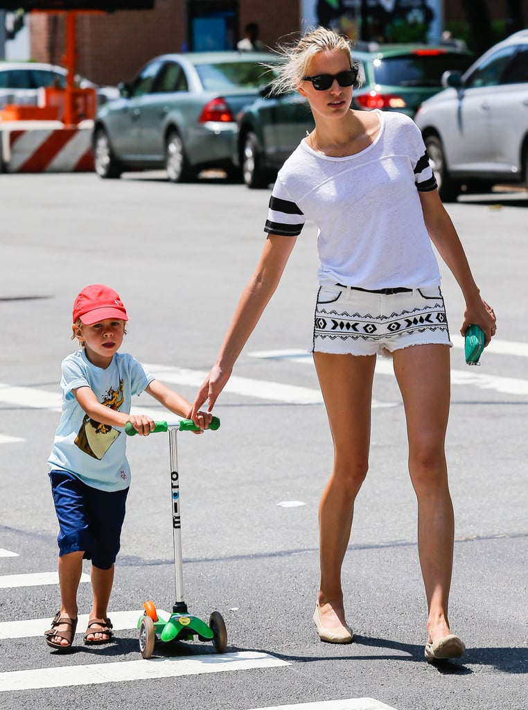 Karolína Kurková took her son, Tobin, out for a scooter ride around NYC.