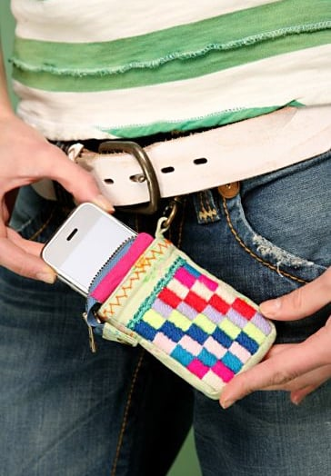 Free People's Embroidered Checkerboard Touch/iPhone Holder